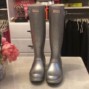 Silver Metallic Hunter Tall Boots 8
